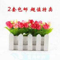 Fashion silk flower artificial flower plastic flower artificial flower small tea rose fence set