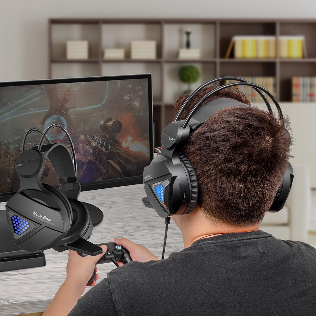 LED Light Gaming Headset Game Earphones 108dB/3dB Stereo 1.8m/70.9inch Wired Black 32 Headset With Microphone