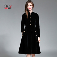 Maylina Elegant Solid Black Velvet Dress Winter Dresses Spring Women Slim Vestido New Vintage Long Sleeve