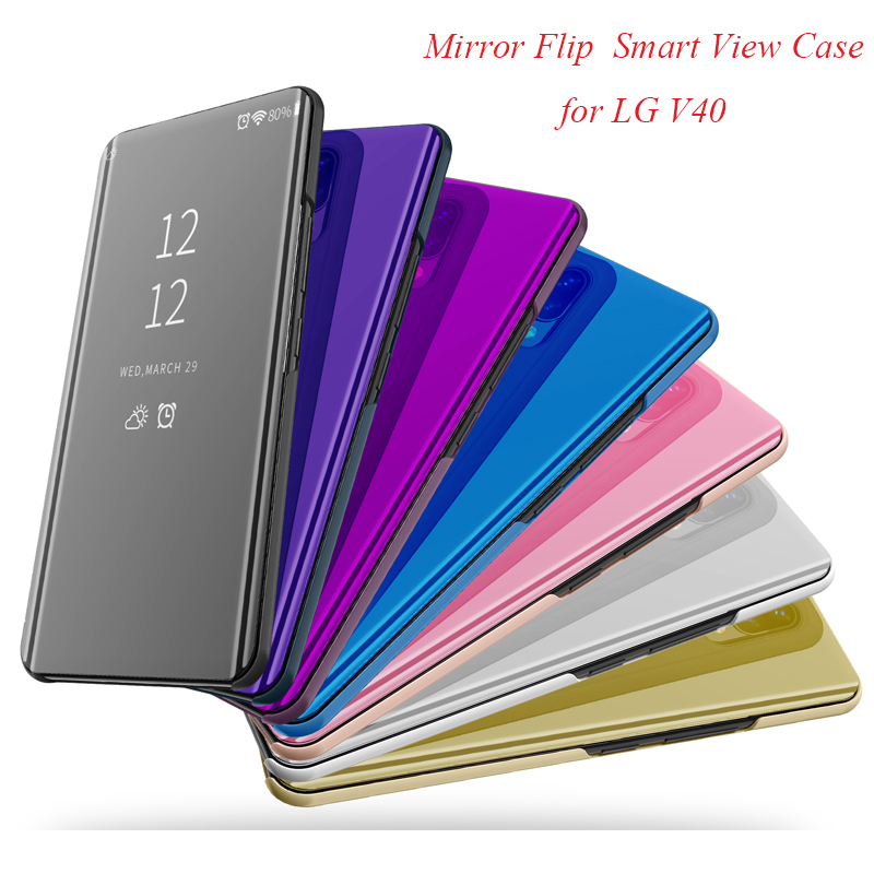 LGV40 Smart Flip Stand Mirror Case For LG V40 Clear View PU Leather Cover for