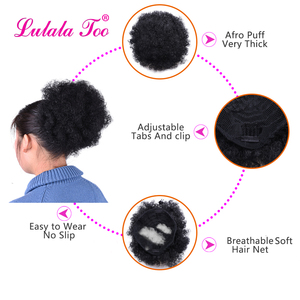 Image 3 - Afro Afro Afro puf at kuyruğu İpli Chignon postiş kısa sentetik Kinky kıvırcık sahte saç Bun Updo klipsli postiş