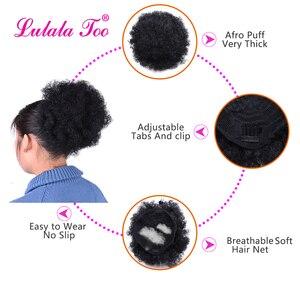 Image 3 - สูง Afro พัฟหางม้าสายรัด Chignon Hairpiece สั้น Kinky CURLY ปลอมผม Bun Updo คลิป