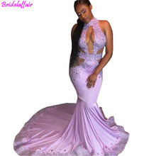 Sexy Prom Dresses 2019 Mermaid High Neck Purple Party Gowns African Black Girls Lace Applique Beaded Cutaway Sides Wear