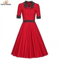 Pin Up Vestidos Women Spring Autumn Dresses Retro Casual Elegant Party Robe Rockabilly Vintage Polka Dot