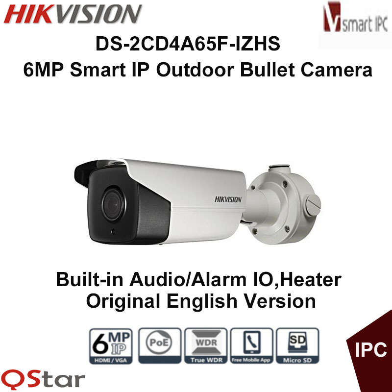 Hikvision Original English Version DS-2CD4A65F-IZHS 6MP Smart IP Outdoor Camera Support 128G SD CARD POE Audio CCTV Camera touchstone teacher s edition 4 with audio cd