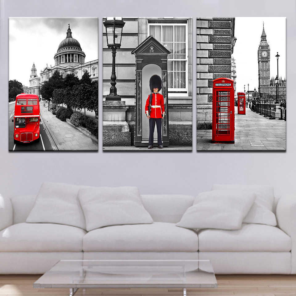 Art painting 3 pieces Modular London Street View high definition print canvas home decor poster and wall art living room picture