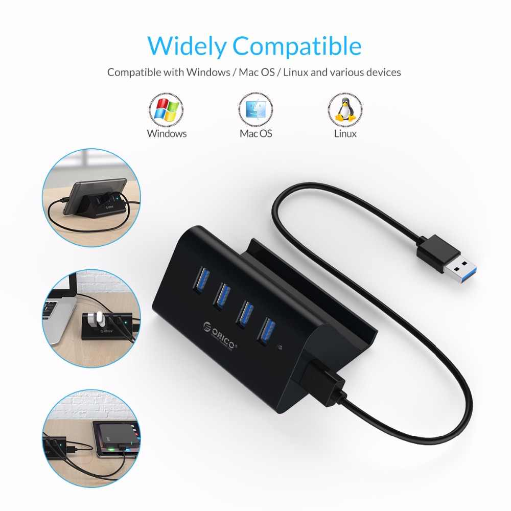 ORICO USB HUB yüksek hızlı Mini 4 port USB2.0/USB3.0 HUB ile masaüstü Laptop için telefon ve Tablet tutucu -siyah/beyaz (SHC)