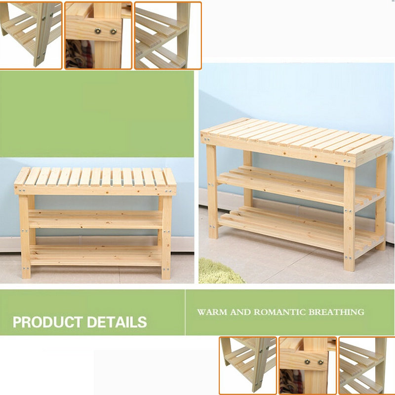 60CM Solid Pine Wood Color Three Levels Shoes Rack Shoe Shelf Storage Footstool Bench Green Safe Without Painting