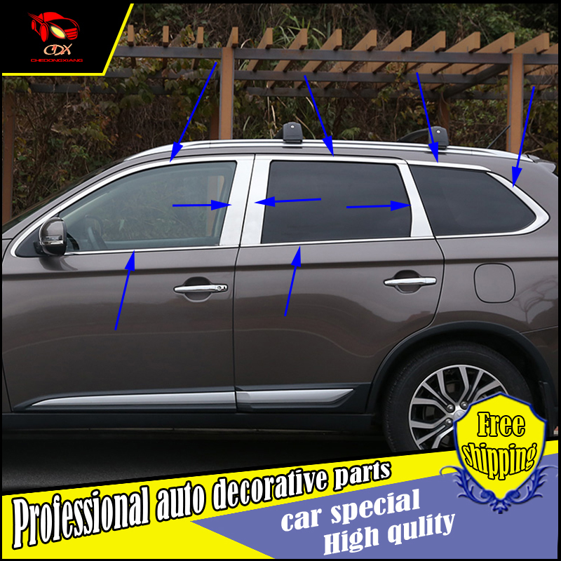 Car styling stainless Steel Window Trim sticker For Mitsubishi Outlander 2013-2016 Windows middle column Window frame cover Trim