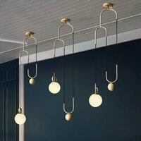Кухня столовая и бар металл подвесной светильник для Обеденная ресторан бар Спальня Lounge подъема Стекло шар, подвесные светильники