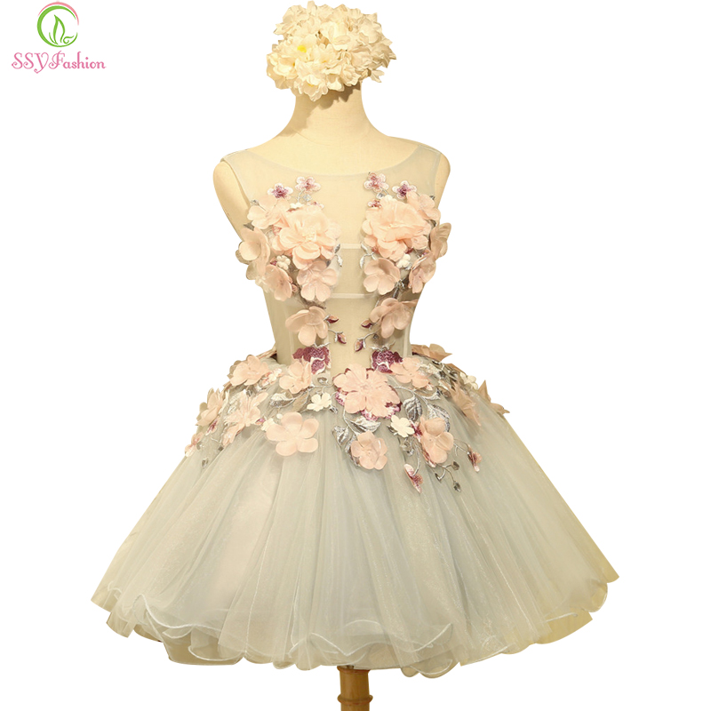 SSYFashion New Arrvial Sweet Flower Cocktail Dress Bride Banquet Sweet Organza Sleeveless Appliques Mini Party Ball Gown Custom