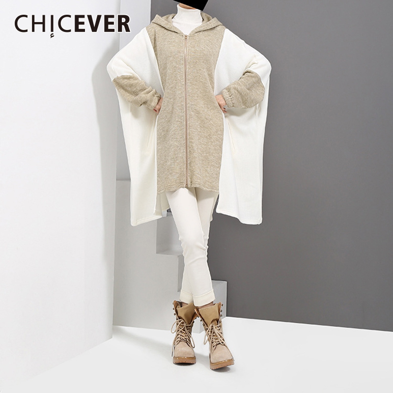 CHICEVER Hoodies Batwing Sleeve Female Sweatshirt For Women Top Loose Big Size Hit Colors Winter Sweatshirts Clothes Fashion New