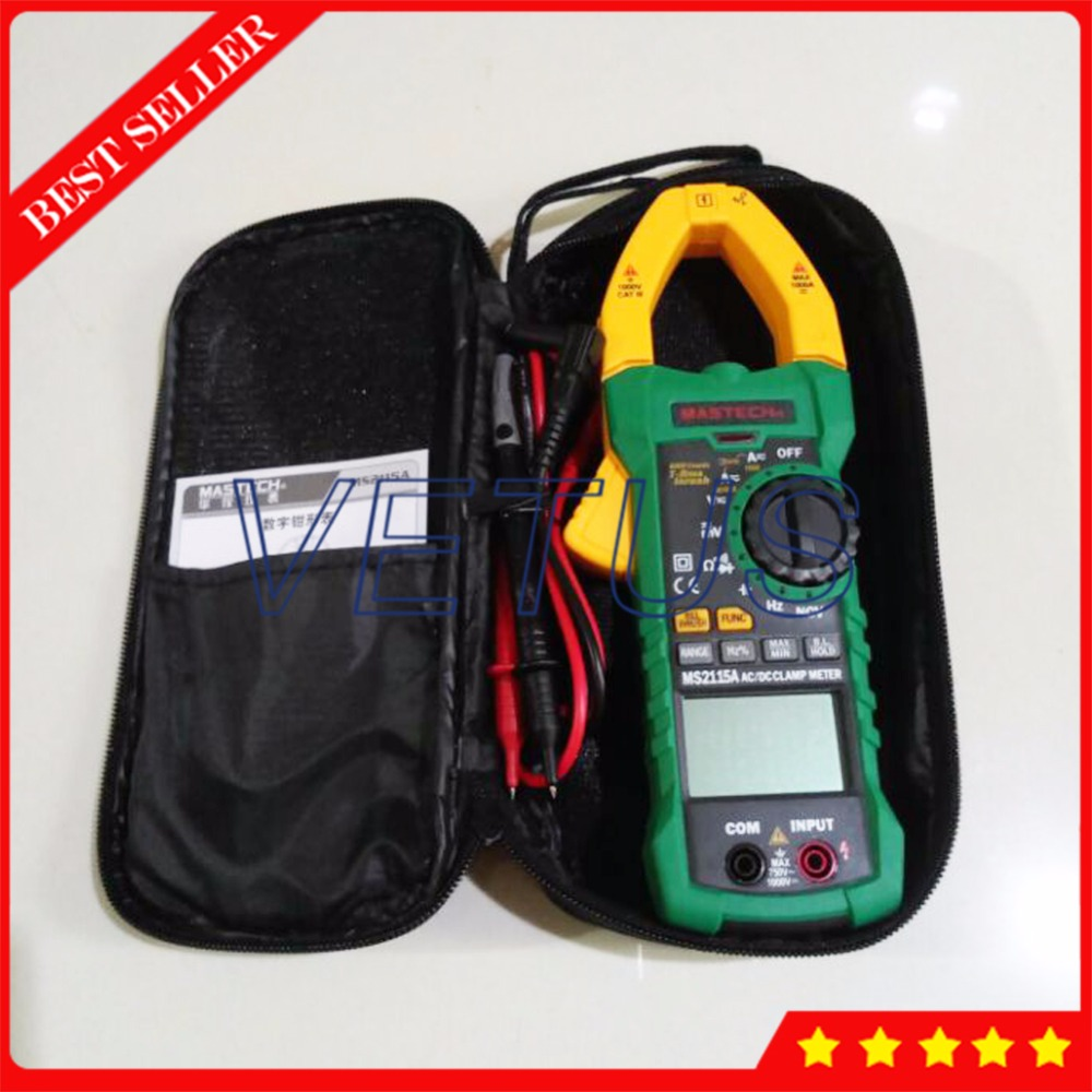 MASTECH MS2115A True RMS Digital AC DC Clamp Meter Price with 5999 counts Voltage Current Resistance Capacitance Tester Detector mastech ms2015b 6600 counts 1000a ac clamp meters w capacitance frequency temperature