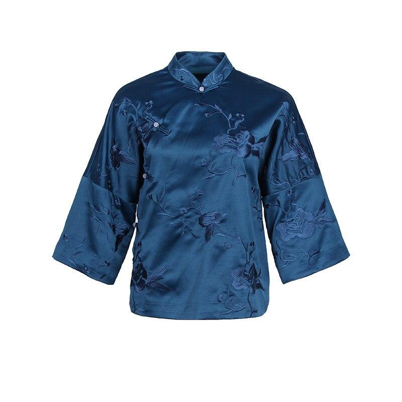 Automne nouveau femmes rétro plaque bouton broderie éléments chinois col montant Tang costume chinois hauts chemise