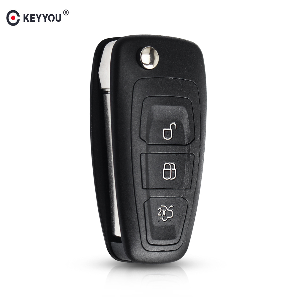 KEYYOU Flip Folding Remote Key Shell Car Key Cover 3 Buttons For Ford Focus Mondeo Fiesta 2013 Fob Auto Case With HU101 Blade(China)