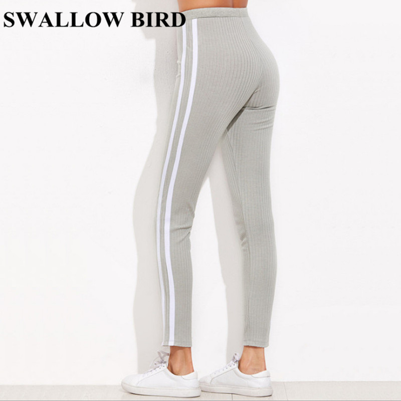 2018 New Striped Workout Casual Pants Women Grey High Waist Skinny Lace-up Leggings Knit Sweatpants Sexy Elastic Trousers Femme