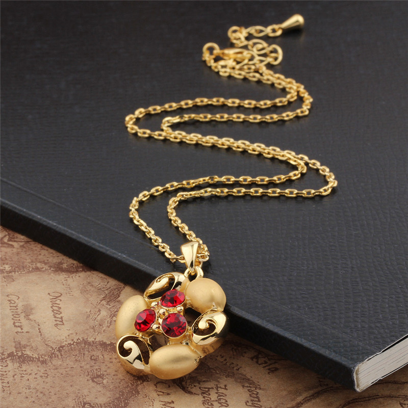 Hot 2016 New rhinestone flower gold necklace chains collier ...