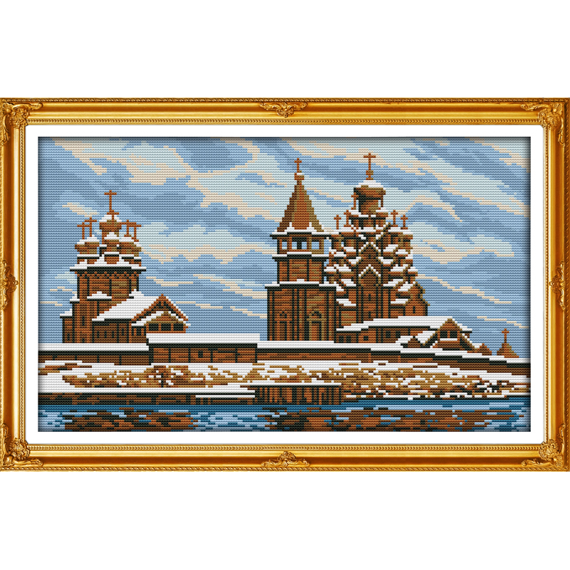 Everlasting love Snow covered landscape 4 Chinese cross stitch kits Ecological cotton stamped printed DIY Christmas decorations in Package from Home Garden