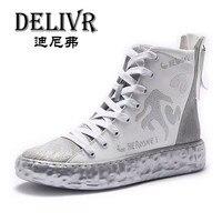 Delivr ботинки из натуральной кожи Для мужчин s Англия белая лошадь с высоким берцем Martins ботинки мужская обувь Элитный бренд нарядные туфли дл
