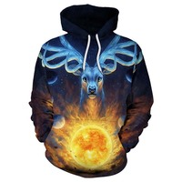 2017 Magic Deer Hooded Sweatshirts Women Men 3D Hoodies Printed Female Novelty Pullover Funny Cool Tracksuit