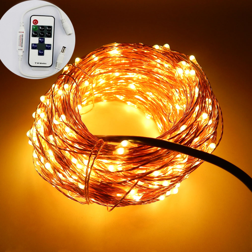 33FT / 10M 100 ledninger Kobber Wire Garden LED String Starry Light Fairy lys + 6V strømadapter (UK, US, EU, AU stik) + Fjernbetjening