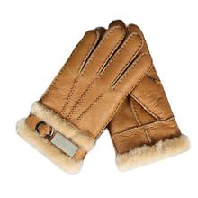 Skórzane futrzane rękawice moda męska zimowa jesień ciepły termiczny wełniany polar kożuch śnieżne rękawiczki Outdoor Five Finger rękawiczki na nadgarstki tanie tanio Unisex Futro Prawdziwej skóry Dla dorosłych Stałe Nadgarstek Width 11cm Total Length 24cm Middle Finger Length 9 5cm-10cm