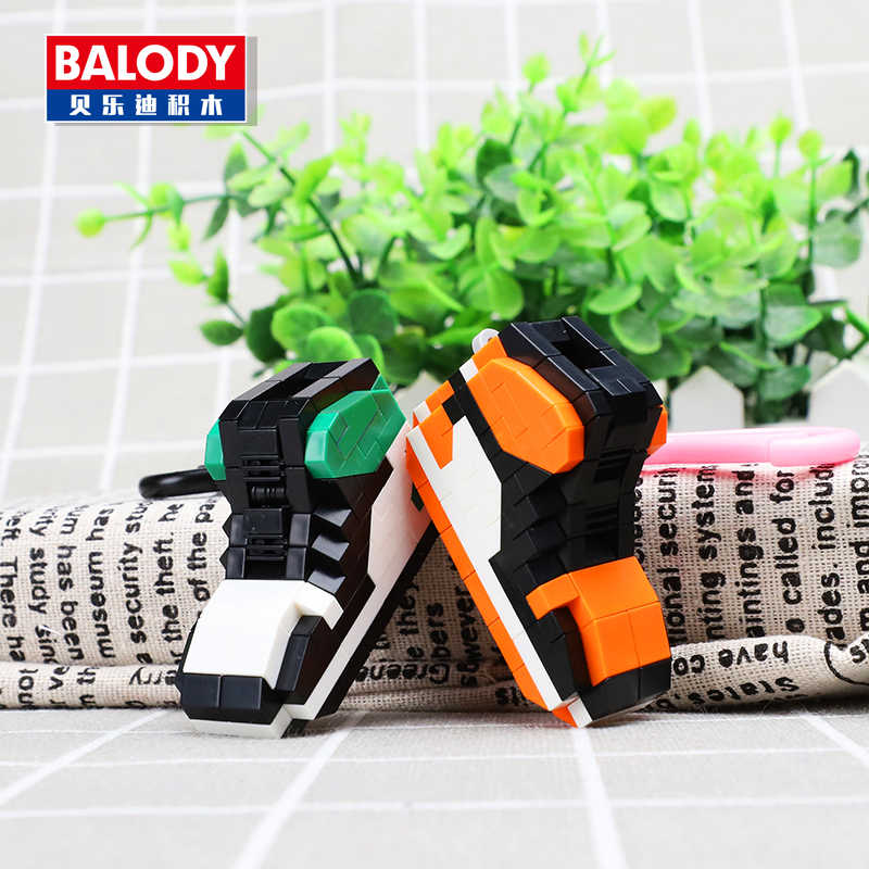 2018 new arrive hot sale balody Creator Keychain Building Blocks sport shoe Bricks Kids Mod Christmas Toy for Children gifts