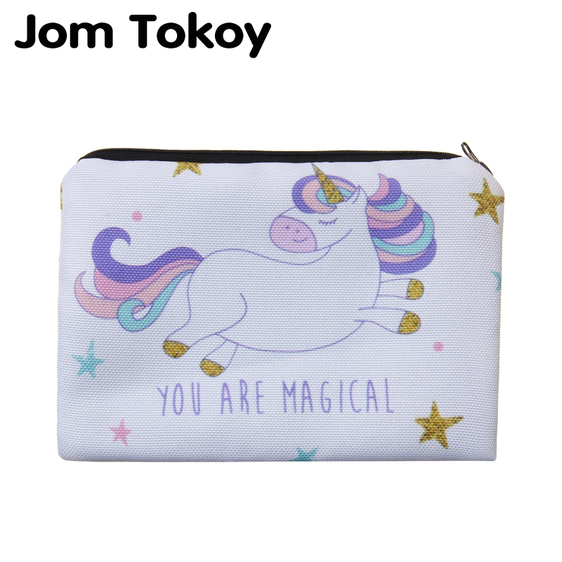 Jom Tokoy 2018 new unicorn Simple Square Cosmetic Bags 3D Printed Polyester Travell Makeup bag 2018 new tiger printed 3d sweatshirt