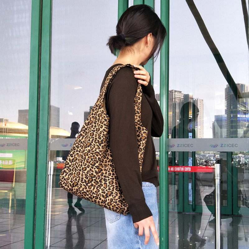 100% Cotton Canvas Tote Shopping Bags Big Leopard Print Ladies Bag Folding Eco Reusable Shoulder Bag A08