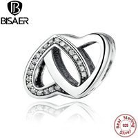 BISAER 2016 New Arrival 100 925 Sterling Silver Entwined Love Clear CZ DIY Charm Fit Pandora