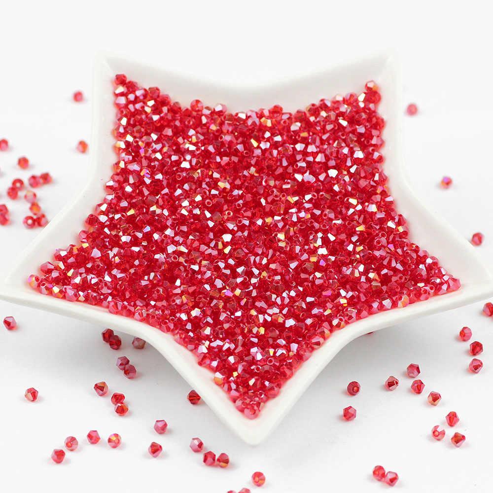 Rot AB Doppelkegel Österreichischen facettierte Kristall Glas Perlen 4mm 100 stücke Lose Spacer Perlen für Schmuck Handwerk, Die DIY zubehör