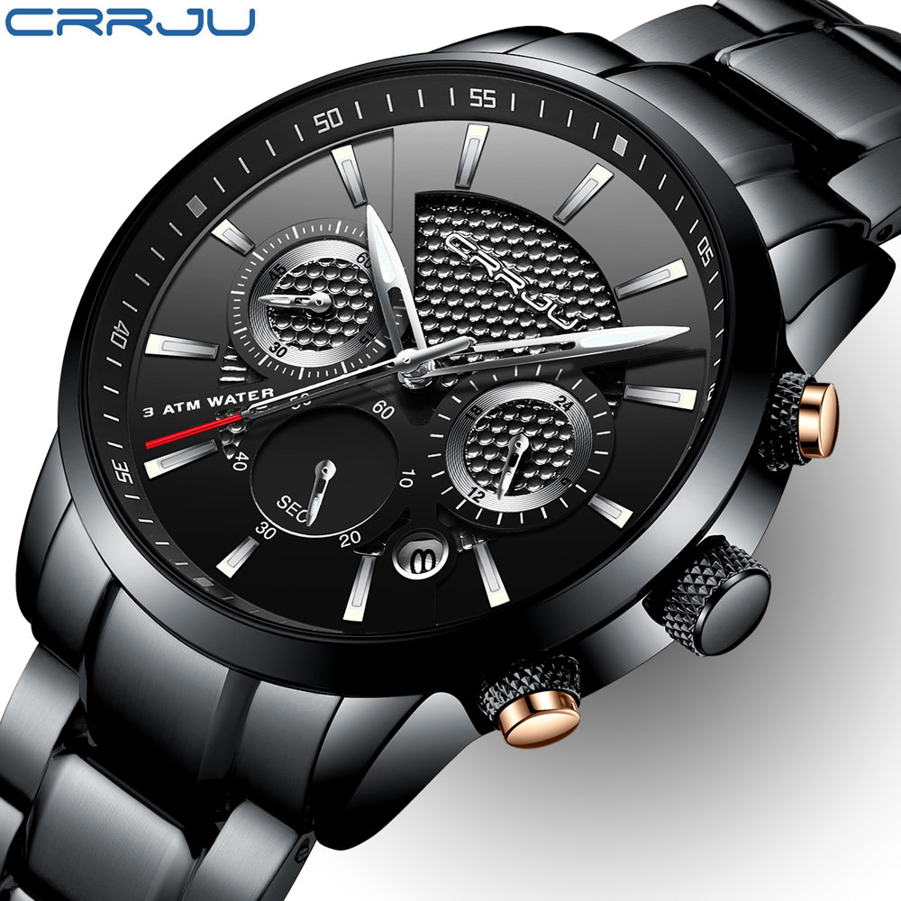 CRRJU Men's Watch Quartz Men Fashion Watches Functional Brand Luxury Full Steel Business Waterproof Watch Relogio Masculino