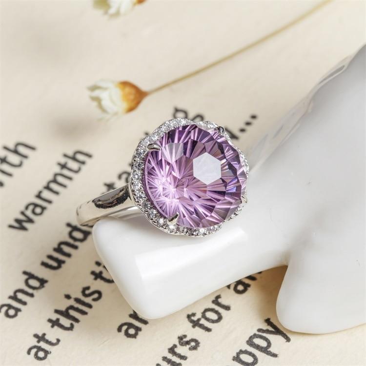 925 серебряные с натуральным аметрином кольцо открытие