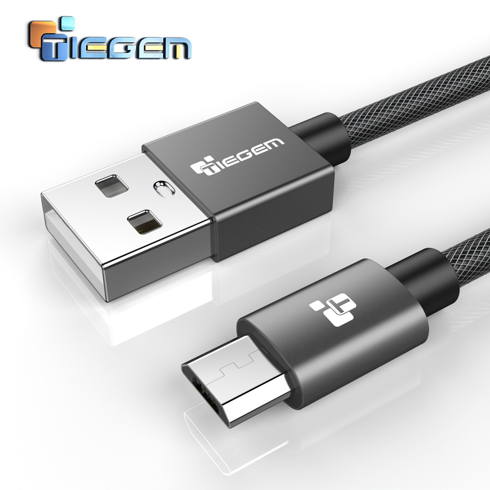 TIEGEM 5V2A Nylon Micro USB Cable for Samsung HTC Huawei Ands