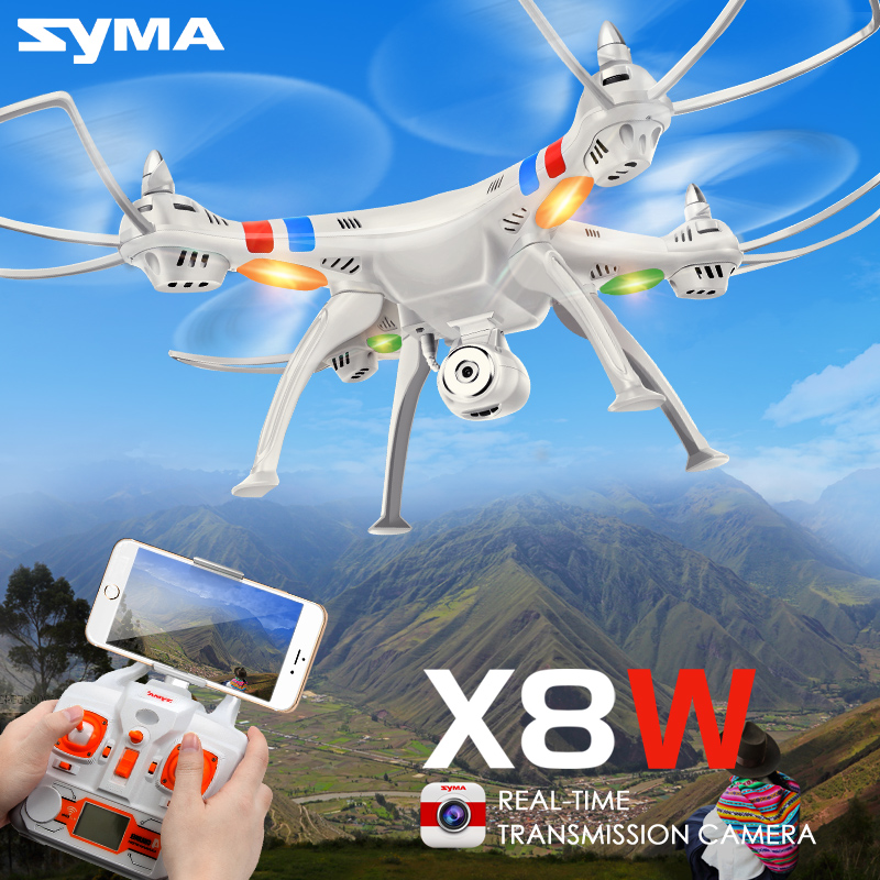 Hot SYMA X8W Drone with WiFi Camera Real-time 2.4G 4CH 6 Axis Sharing Remote Control Quadcopter RTF RC Helicopter White Color real gains 4 8