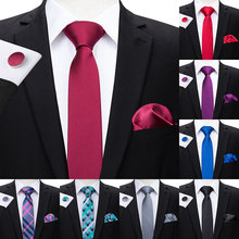 Hi-Tie 6cm Slim Tie Solid Silk Woven Red BLue Plain Color Necktie Hanky Cufflinks Set Mens Party Wedding Narrow Skinny Neck