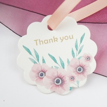 multi-use 50pcs thank you simple flower with leaves design Scrapbooking decoration tags as wedding gift label DIY use