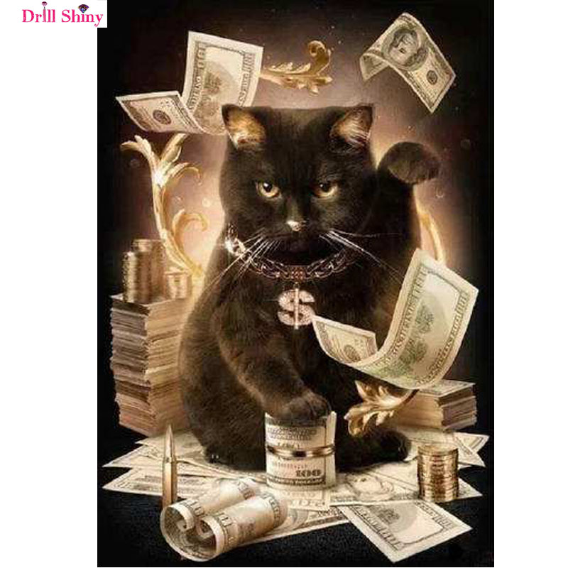 Full square Diamond Embroidery Cat With Cash Pattern DIY 5D Diamond Painting Needlework Cross Stitch Full Drill Rhinestones ...