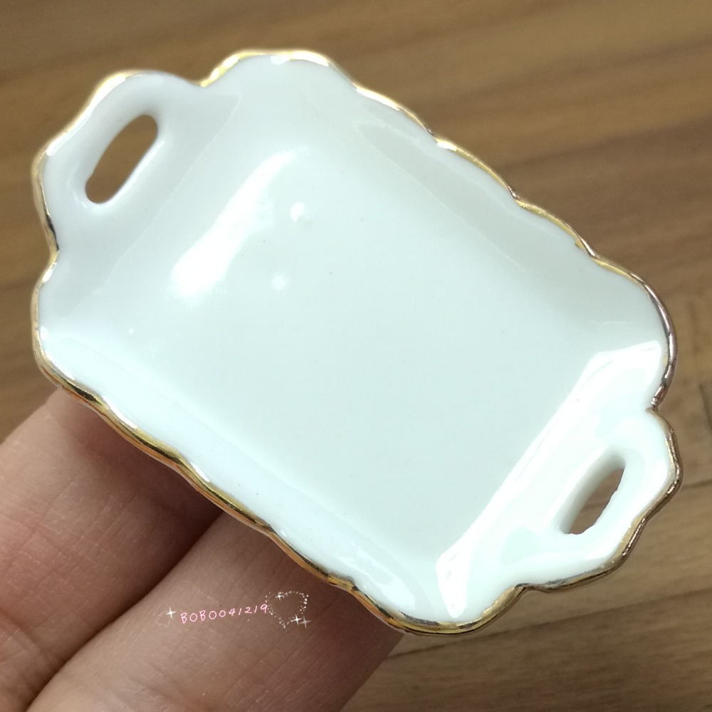 Dollhouse Miniature Toy Kitchen A Black Metal Food Tray Length 5.8cm SPO260