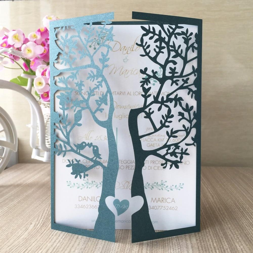 50pcs Chic Tree Love Heart Birds Design Wedding Invitations Cards Laser Cut Wedding Birthday Decoration Christmas Greeting Cardsgreeting cards birthdaybirthday greetingscard birthday -