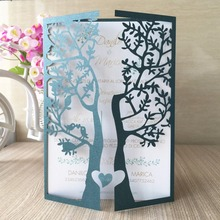 50pcs Chic Tree Love Heart Birds Design Wedding Invitations Cards Laser Cut Wedding Birthday Decoration Christmas Greeting Cards