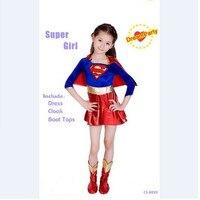 Kids Child Girls Supergirl Sexy Superman Costume Halloween Purim Cosplay Fancy Dress Superhero Comic Book Party