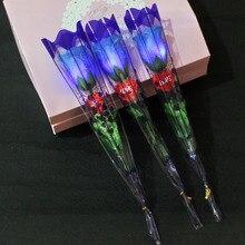 Юбилей искусственный цветок светодиодный светильник предложение Романтическая свадьба день рождения консервированная Роза для домашнего декора подарок на день Святого Валентина