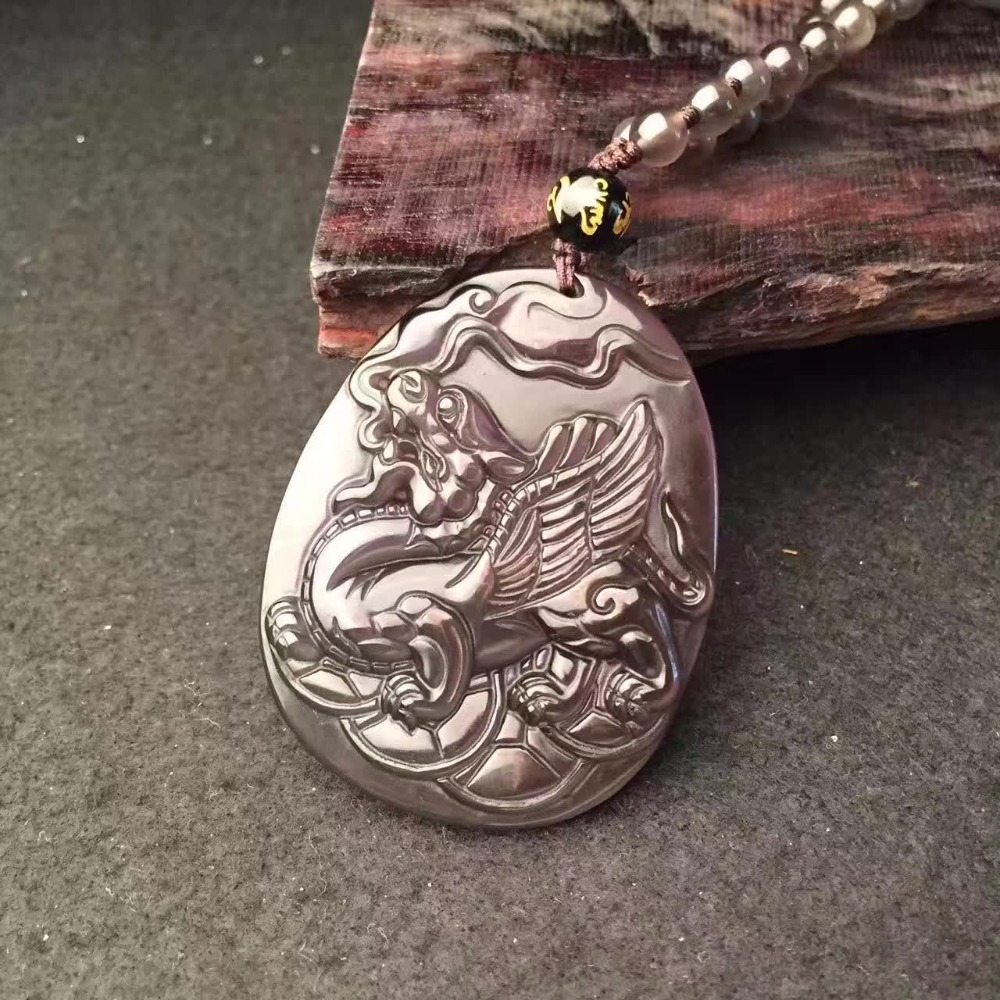 Black Rainbow Ice Obsidian Carving Flying Dragon Amulet pendant necklace Blessing Lucky Healing Reiki pendants fashion Jewelry harbll ar pendant accessories gold plated double gourd glass beads amulet for safe driving lucky blessing car pendant