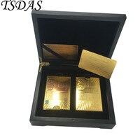 זהב משחק כרטיס מתנת יום הולדת 24 k מצופה זהב זהב & צבעים 500 עיצוב אירו, פוקר כרטיס עם קופסא עץ יוקרתית