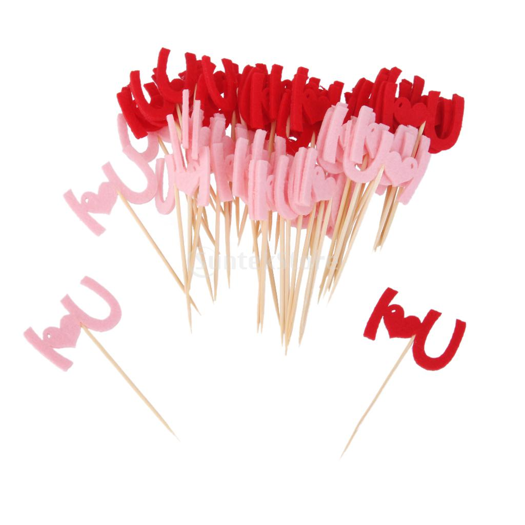 Various 50x Picks Felt Fabric Toothpick Sweet Fruit Cupcake Toppers Table Decor