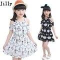 2017 nueva ropa de los niños del verano niña vestido de big girls cabritos del vestido de la gasa del verano de la princesa vestidos para bebé Negro blanco
