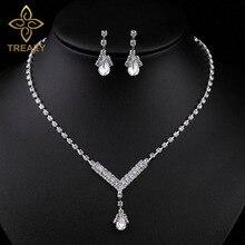 Treazy Simple V Shape Teardrop Bridal Bridesmaid Jewelry Sets Crystal Fashion Wedding Necklace Earrings Set