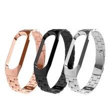 Mi banda 3 substituição alça de pulso pulseira de Metal Pulseira de Aço Inoxidável Banda Pulseiras correia 3 para Xiao mi mi mi banda 3