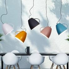 Modern simple art deco lron cup pendant light creative LED hang lamp for Restaurant study room dining room bedroom bedside lamp